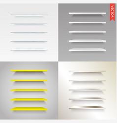 big set of glass wood plastic metal shelves in vector image