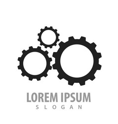 black silhouette gear logo concept design symbol vector image