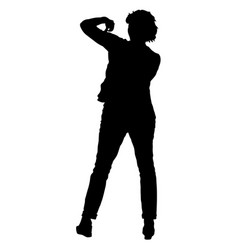 black silhouettes of beautiful woman with arm vector image