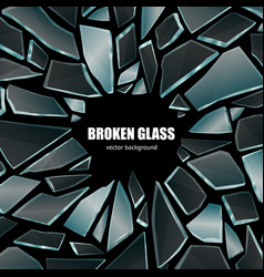 Broken black glass background poster vector