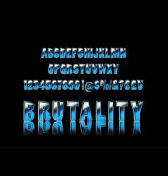 Brutal typeface alphabet vector