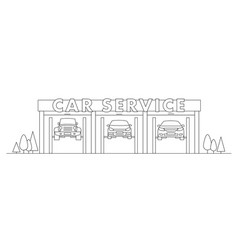 car service linear with cars hanging vector image
