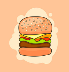 cartoon tasty big hamburger with cheese and vector image