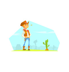 Cheerful cowboy sheriff character in desert vector