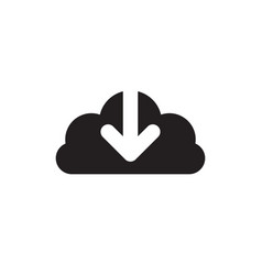Cloud download - black icon on white background vector