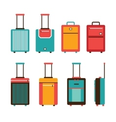 Colorful travel bag icon set Carry on luggage vector