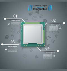 Computer chip business infographic vector