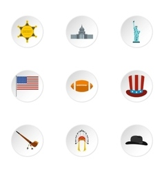 Country usa icons set flat style vector