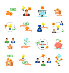Crowdfunding finance flat icons collection vector