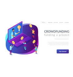 crowdfunding isometric 3d landing page vector image