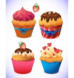 cupcake pack Chocolate and vanilla icing cupcakes vector image