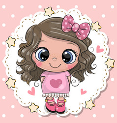 Cute cartoon girl with pink bow vector