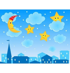 cute night roofs funny moon and stars vector image
