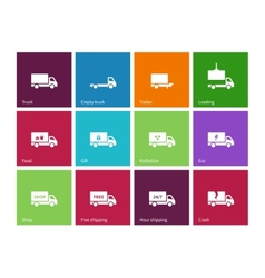Delivery and truck icons on color background vector image