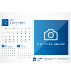 Desk Calendar 2016 Print Template December Week vector