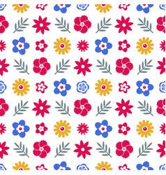 digital blue red flowers set vector image