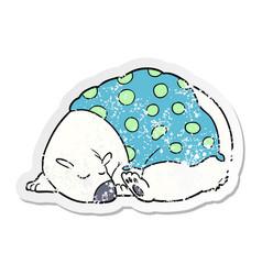 Distressed sticker of a cartoon polar bear vector