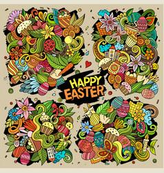 doodles cartoon set happy easter vector image