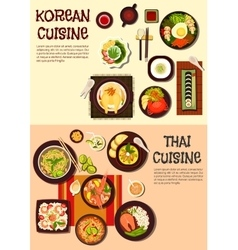 Exotic oriental dishes of korean and thai cuisine vector image