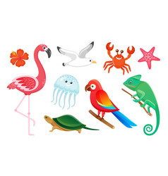 exotic wild birds and animals summer symbols vector image
