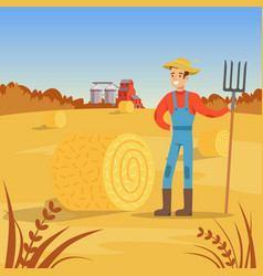Farmer man standing with pitchfork near of hay vector
