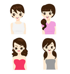 fashion and hairstyle of asian women vector image