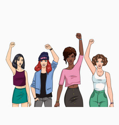 feminism concept different young modern girls vector image