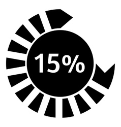 Fifteen percent download circle icon simple style vector