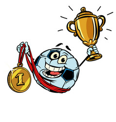First place gold medal character soccer ball vector