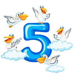 Five pelican and number five vector