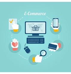 flat design concept online shop and e commerce vector image