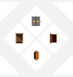 Flat icon door set lobsaloon entry and vector