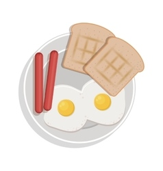 food plate with eggs bread sausace vector image