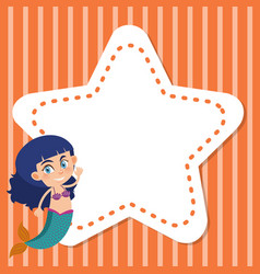 Frame template design with mermaid and star vector