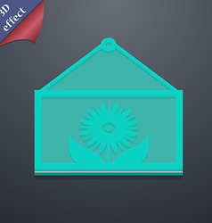 Frame with flower icon symbol 3D style Trendy vector