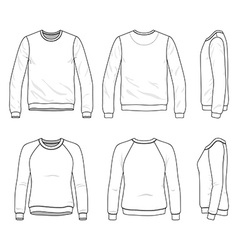 Front back and side views blank sweatshirt vector