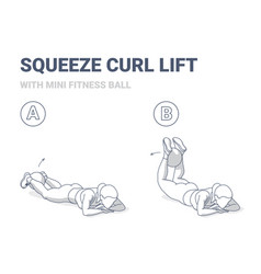 Girl doing squeeze curl and lifts with medicine vector