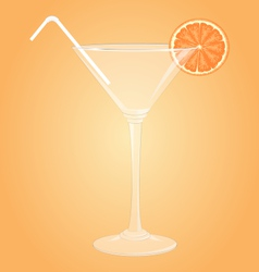 Glass for martini with orange and plastic tube vector image