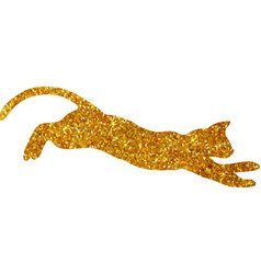 gold cat with glitter silhouette isolated vector image