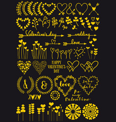 gold heart flowers hand drawings vector image