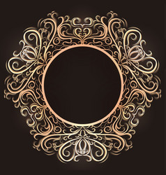 Gold vintage round frame with tracery the object vector