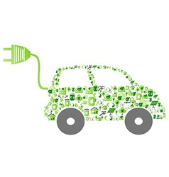 green eco pattern icon car vector image
