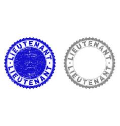 Grunge lieutenant textured stamp seals vector