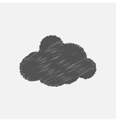 Hand drawn simple gray cloud vector