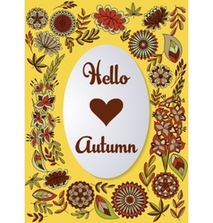 Hello autumn background colorful vector