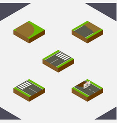 Isometric road set of unfinished repairs vector