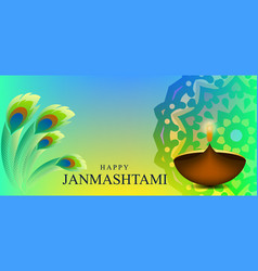 Janmashtami hinduism festival card design vector