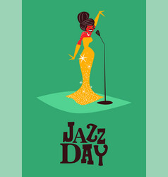 Jazz day poster of retro mid century woman singer vector