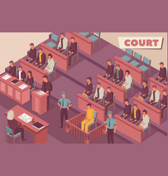 Justice room isometric background vector