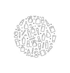 line cosmetics accessorises round concept on white vector image